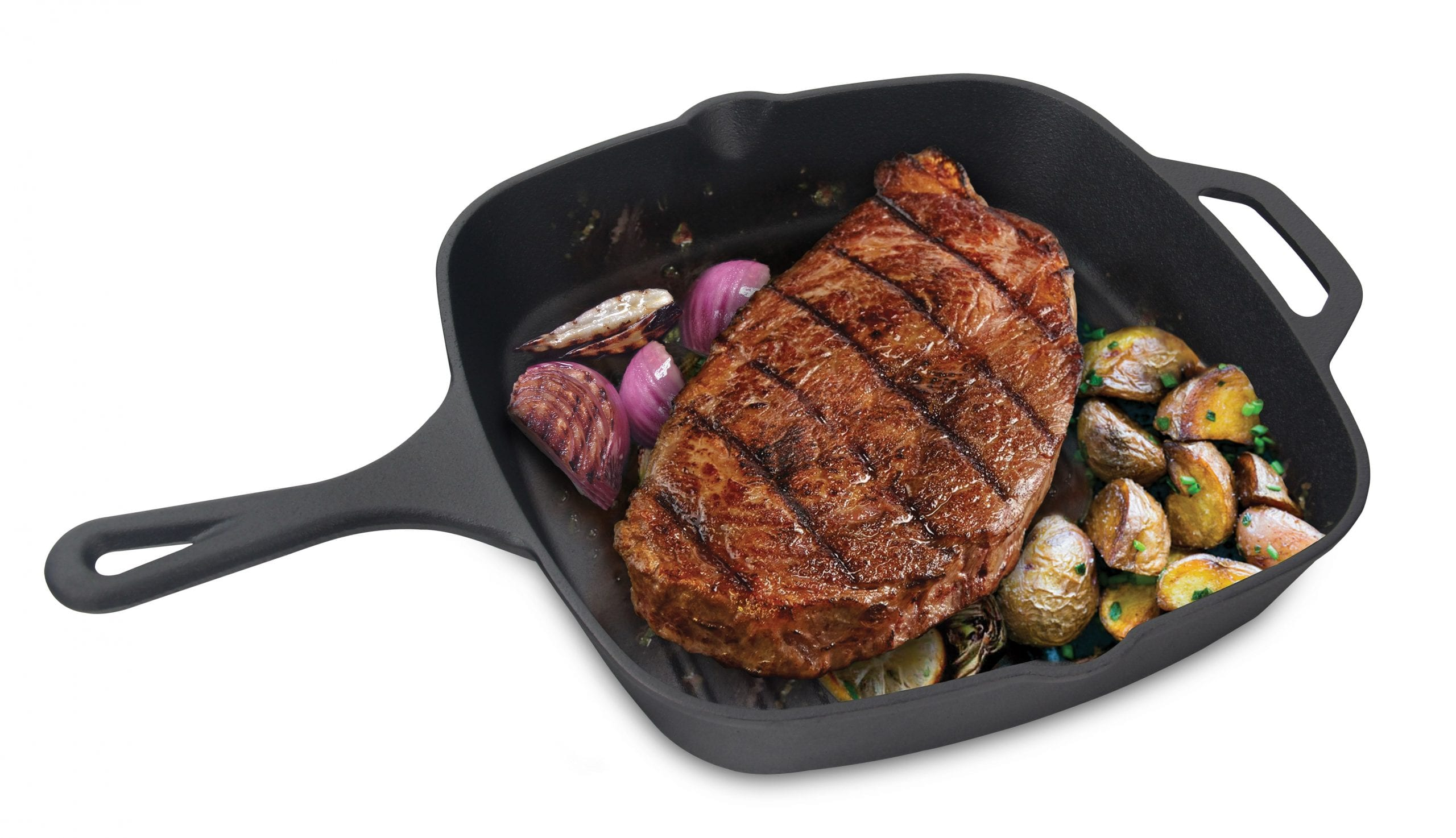 Jim Beam Cast Iron Square Pan with Ridges scaled