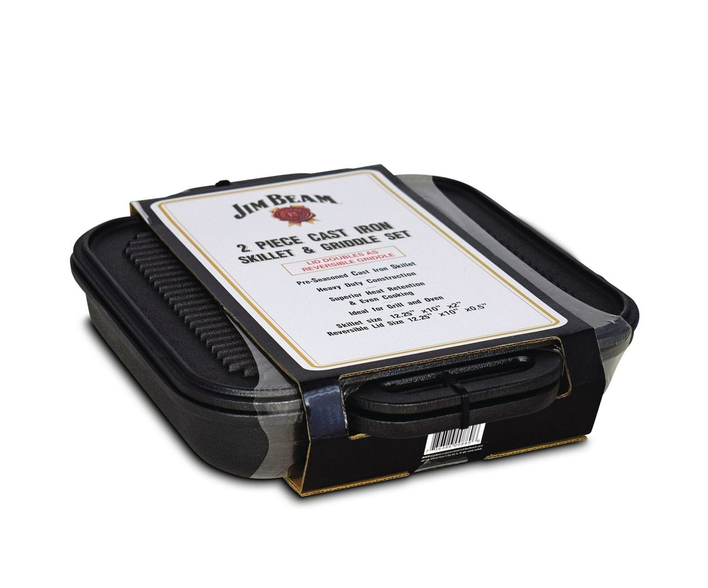 Jim Beam Cst Iron 3 in 1 Skillet with Reversible Griddle
