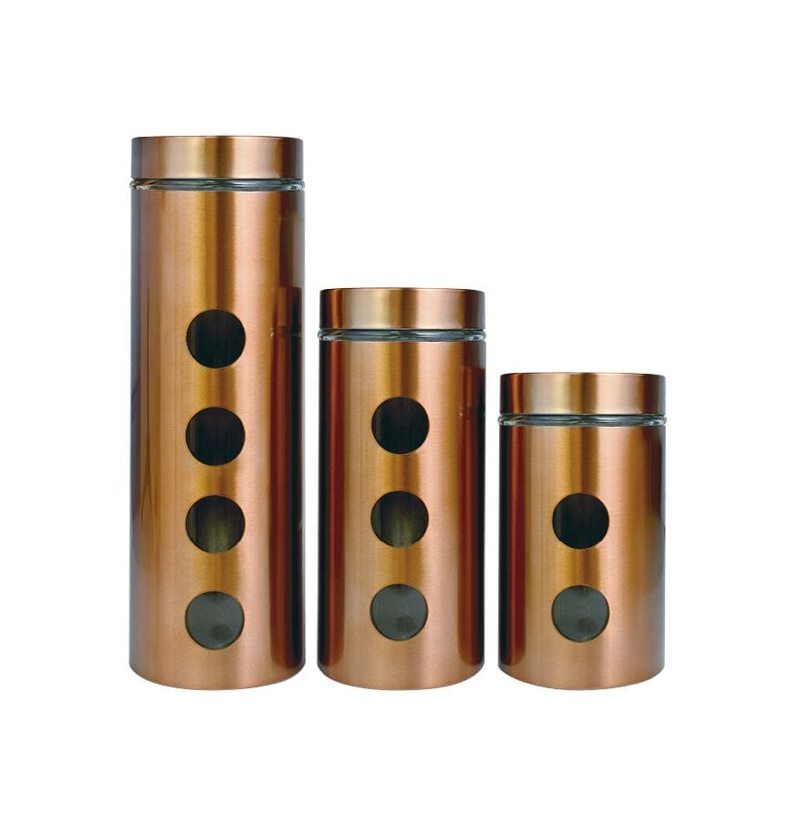Le Regalo Glassware 3pcs Copper Plated Canister Set