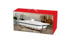 Le Regalo Stoneware Bake & Serve Food Warmer with Metal stand 1