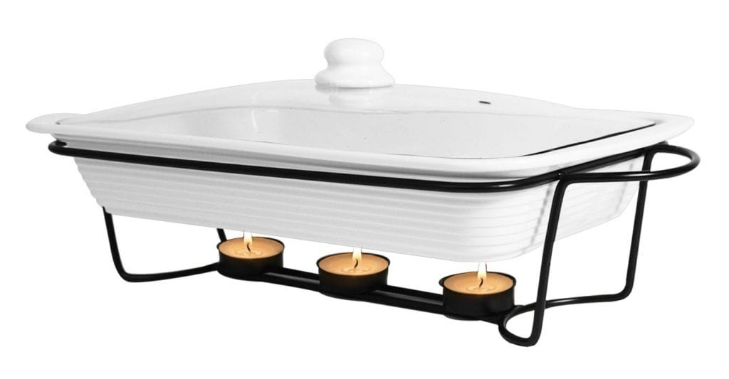 Le Regalo Stoneware Bake Serve Food Warmer with Metal stand