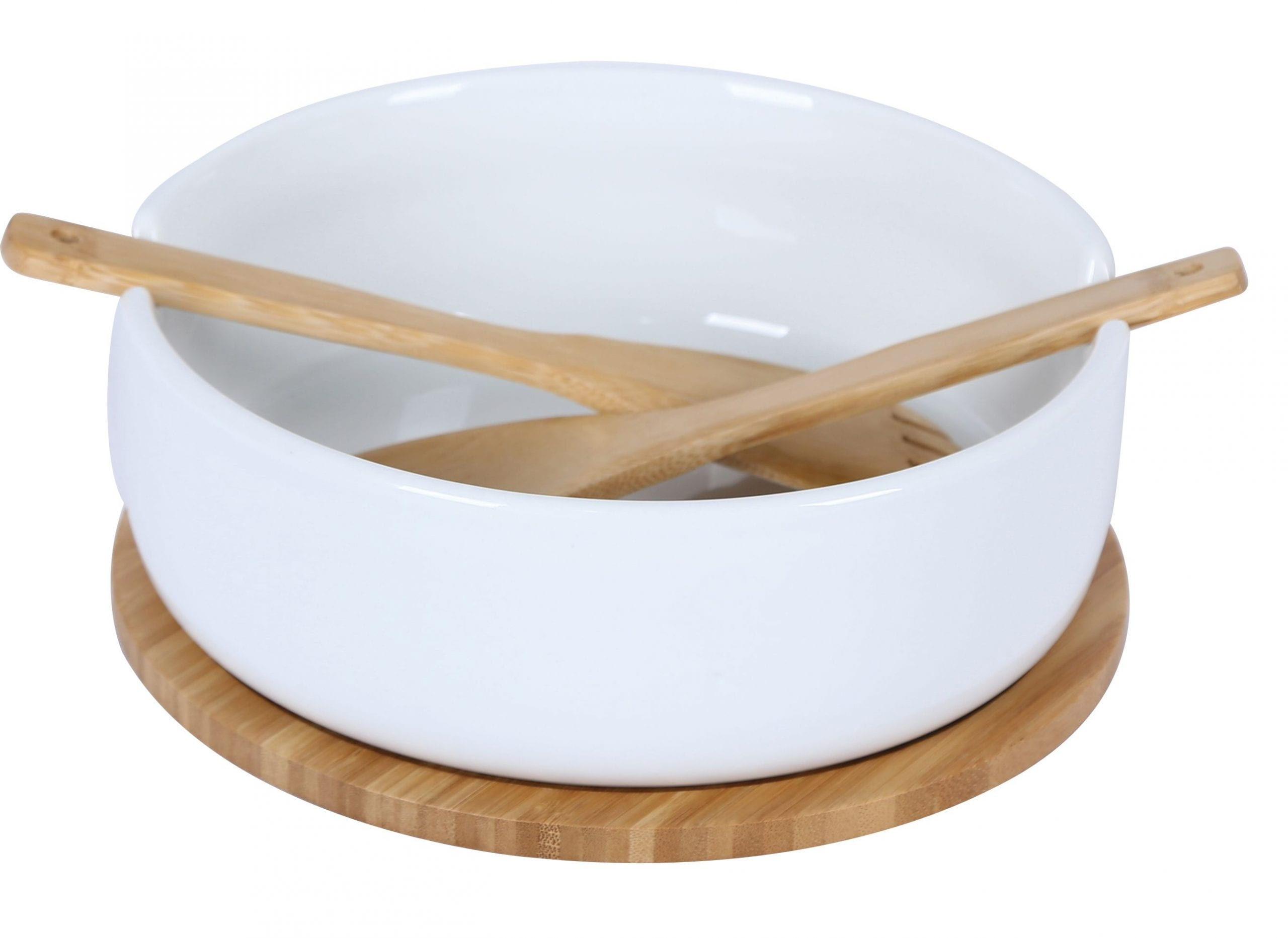 Le Regalo Stoneware Salad Bowl w Wooden BaseForkSpoon 1 scaled