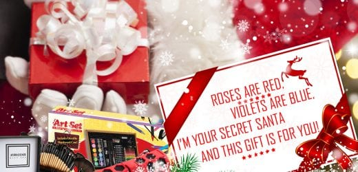 ROSES ARE RED, VIOLETS ARE BLUE, I'M YOUR SECRET SANTA, AND THIS GIFT IS FOR YOU!