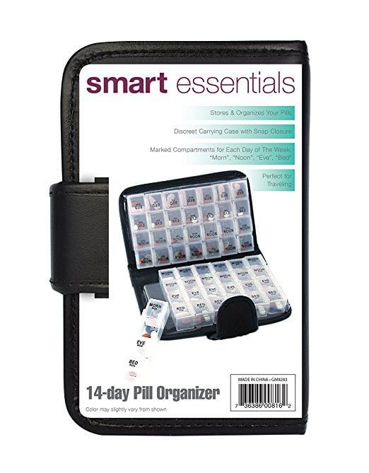 Smart Essentials 2 Week Pill Organizer Black